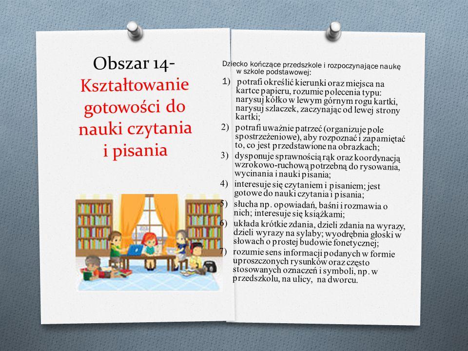 Obszar 14- Kształtowanie gotowości do nauki czytania i pisania