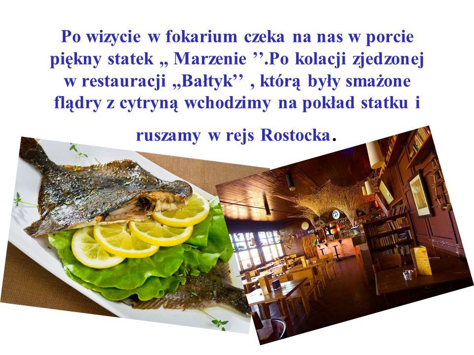 Po wizycie w fokarium czeka na nas w porcie piękny statek ,, Marzenie ''.Po kolacji zjedzonej w restauracji ,,Bałtyk'' , którą były smażone flądry z cytryną wchodzimy na pokład statku i ruszamy w rejs Rostocka.