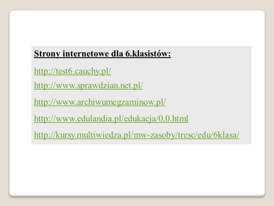 Strony internetowe dla 6.klasistów: