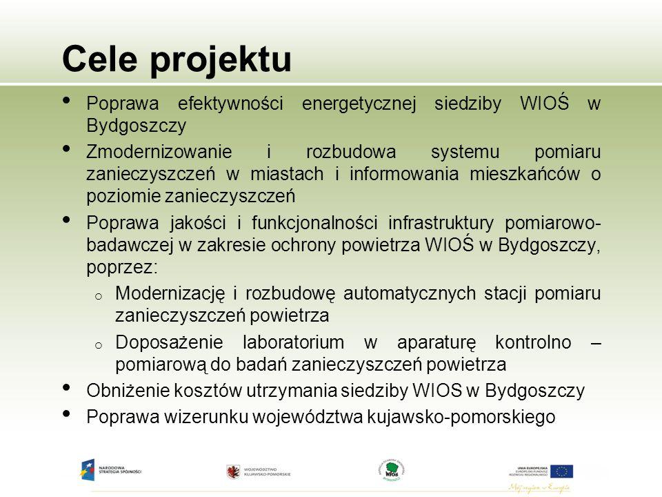 Cele projektu Poprawa efektywności energetycznej siedziby WIOŚ w Bydgoszczy.