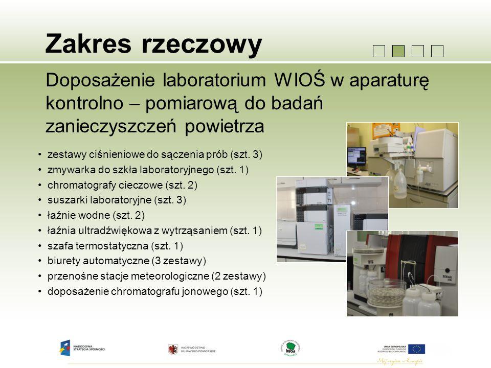 Zakres rzeczowy Doposażenie laboratorium WIOŚ w aparaturę kontrolno – pomiarową do badań zanieczyszczeń powietrza.