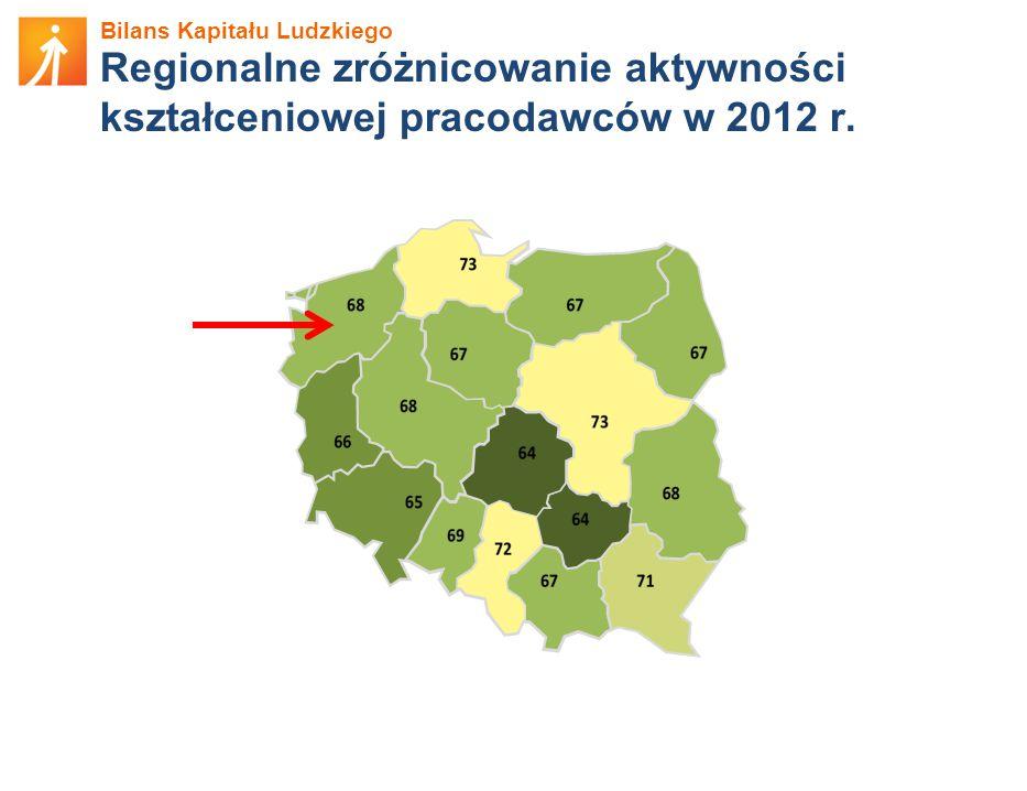 Regionalne zróżnicowanie aktywności kształceniowej pracodawców w 2012 r.
