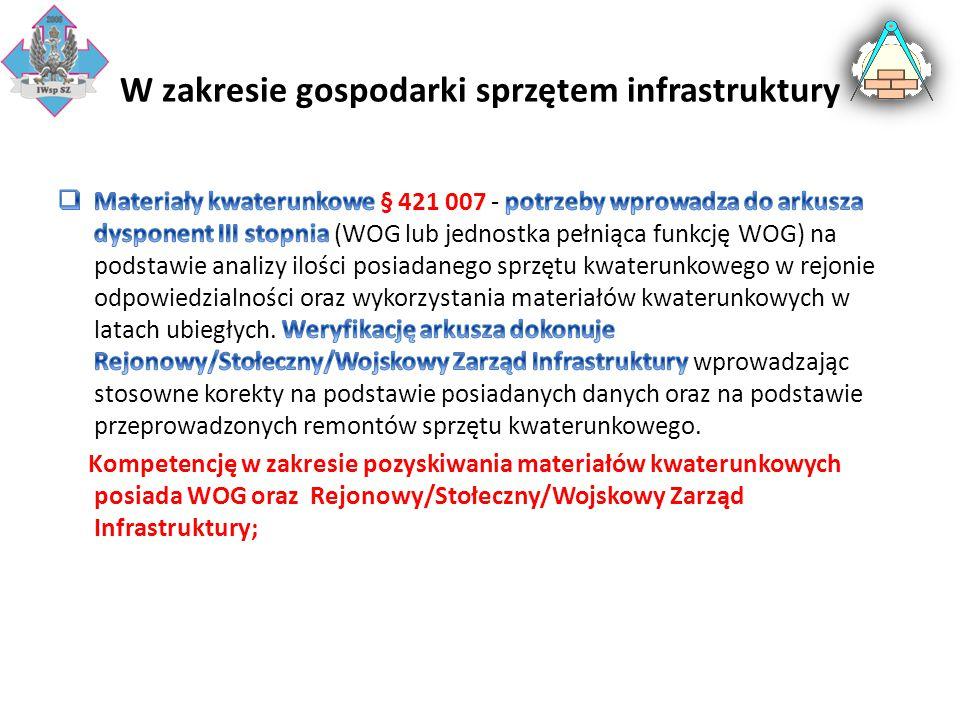 W zakresie gospodarki sprzętem infrastruktury