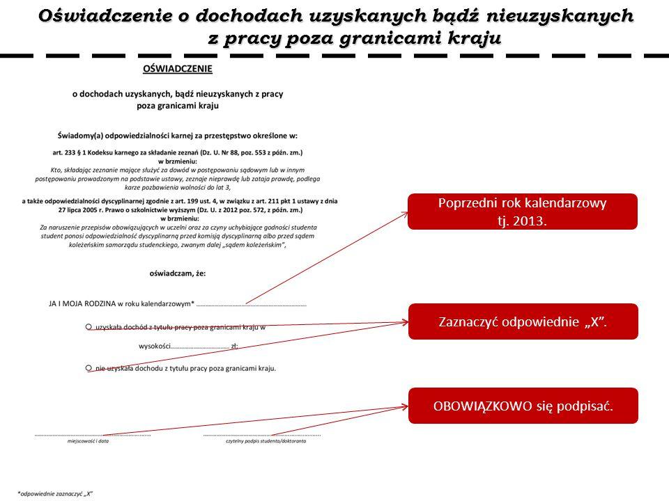 Oświadczenie o dochodach uzyskanych bądź nieuzyskanych z pracy poza granicami kraju