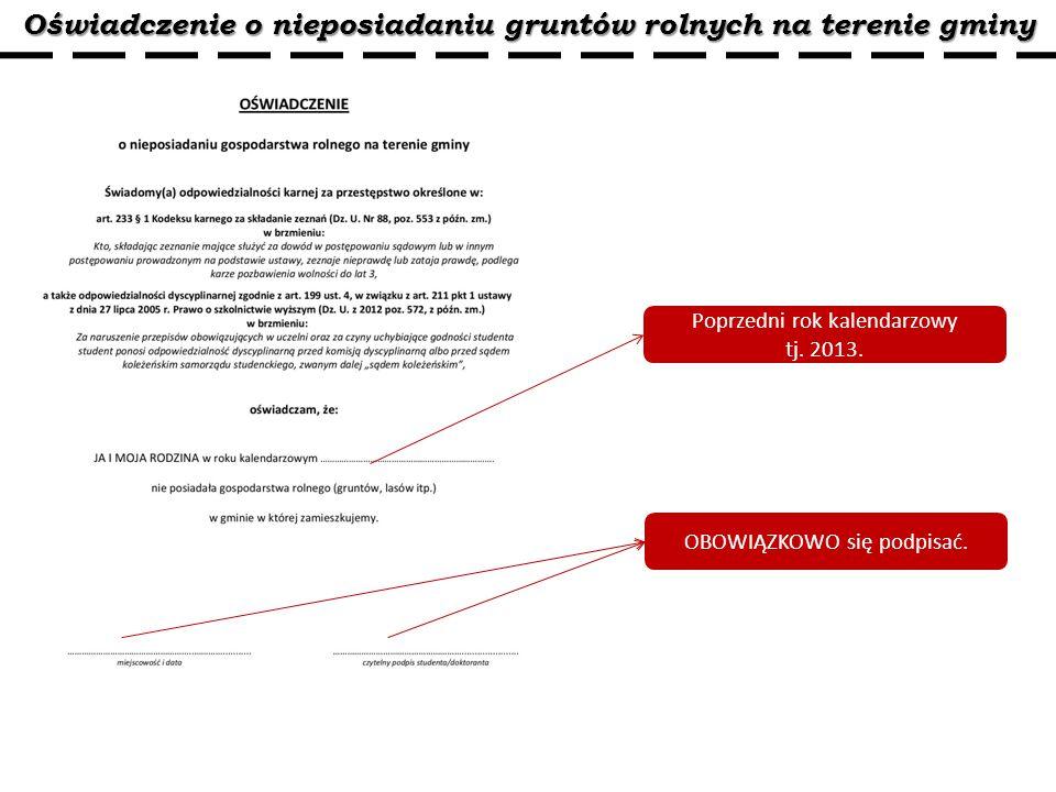 Oświadczenie o nieposiadaniu gruntów rolnych na terenie gminy