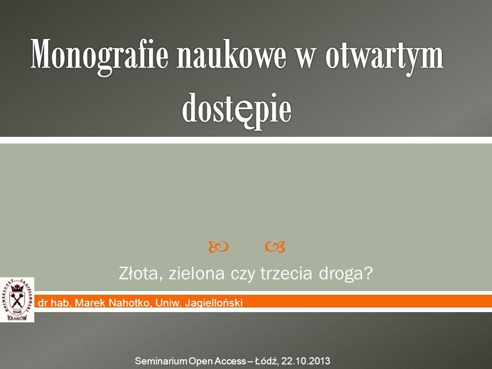 Monografie naukowe w otwartym dostępie