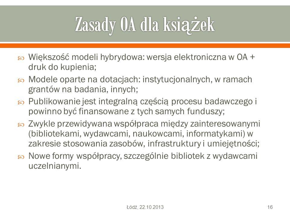 Zasady OA dla książek Większość modeli hybrydowa: wersja elektroniczna w OA + druk do kupienia;