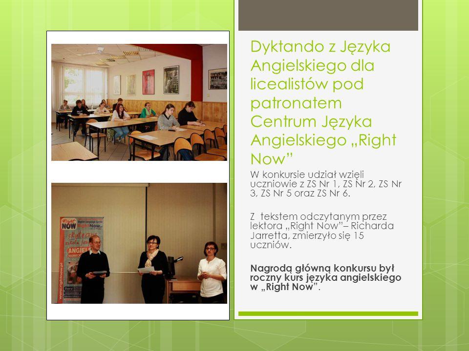 """Dyktando z Języka Angielskiego dla licealistów pod patronatem Centrum Języka Angielskiego """"Right Now"""