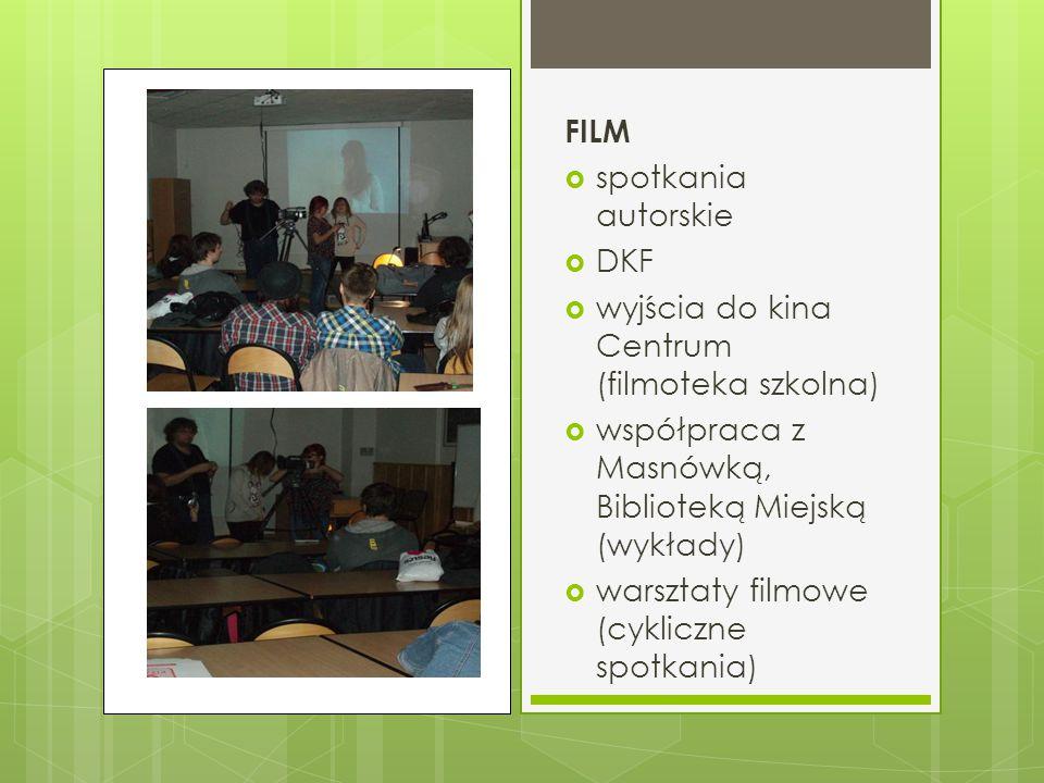 FILM spotkania autorskie. DKF. wyjścia do kina Centrum (filmoteka szkolna) współpraca z Masnówką, Biblioteką Miejską (wykłady)