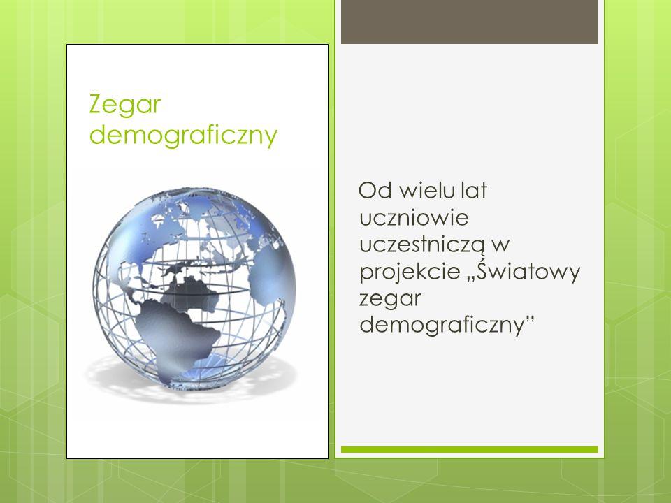 """Zegar demograficzny Od wielu lat uczniowie uczestniczą w projekcie """"Światowy zegar demograficzny"""
