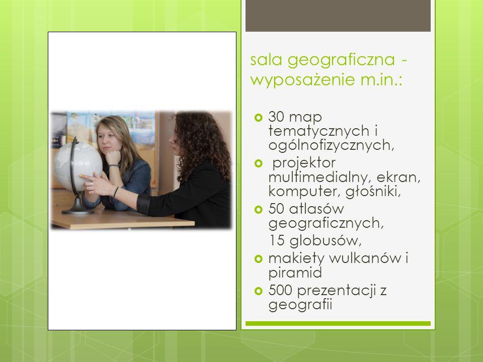 sala geograficzna - wyposażenie m.in.: