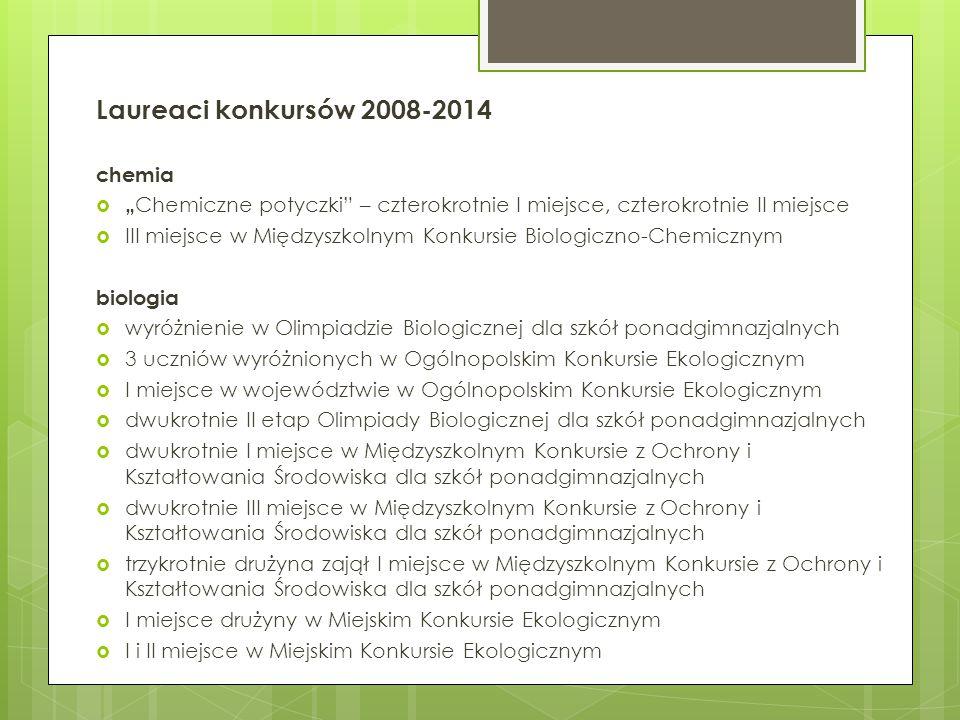 Laureaci konkursów 2008-2014 chemia
