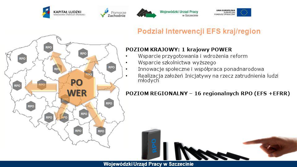 Podział Interwencji EFS kraj/region