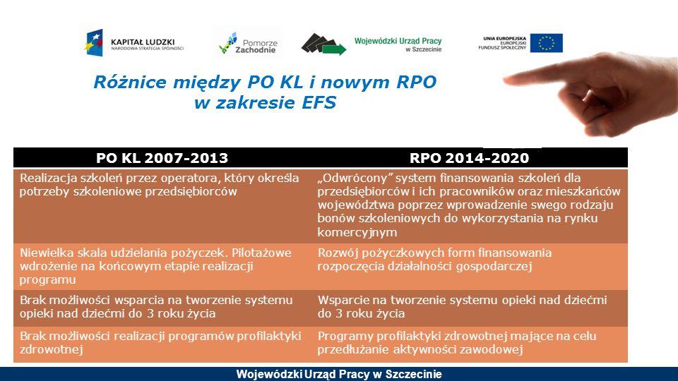 Różnice między PO KL i nowym RPO w zakresie EFS