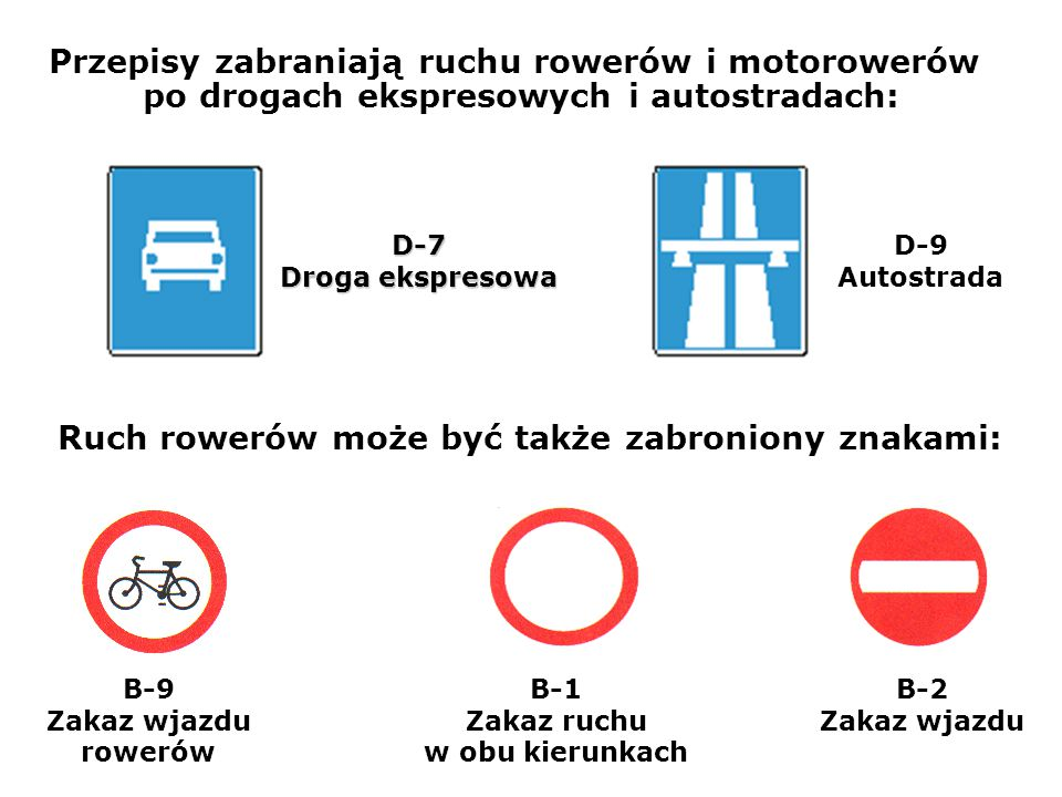 Ruch rowerów może być także zabroniony znakami: