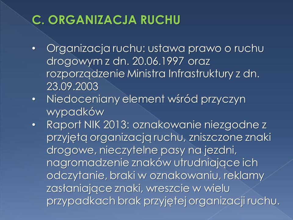 C. ORGANIZACJA RUCHU Organizacja ruchu: ustawa prawo o ruchu drogowym z dn. 20.06.1997 oraz rozporządzenie Ministra Infrastruktury z dn. 23.09.2003.