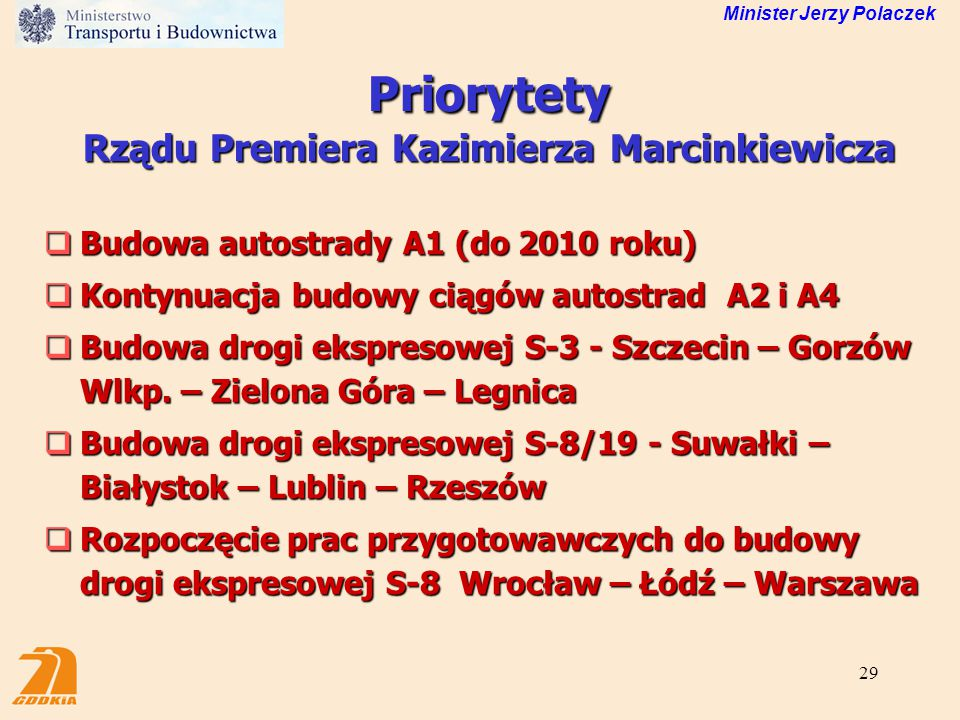 Priorytety Rządu Premiera Kazimierza Marcinkiewicza