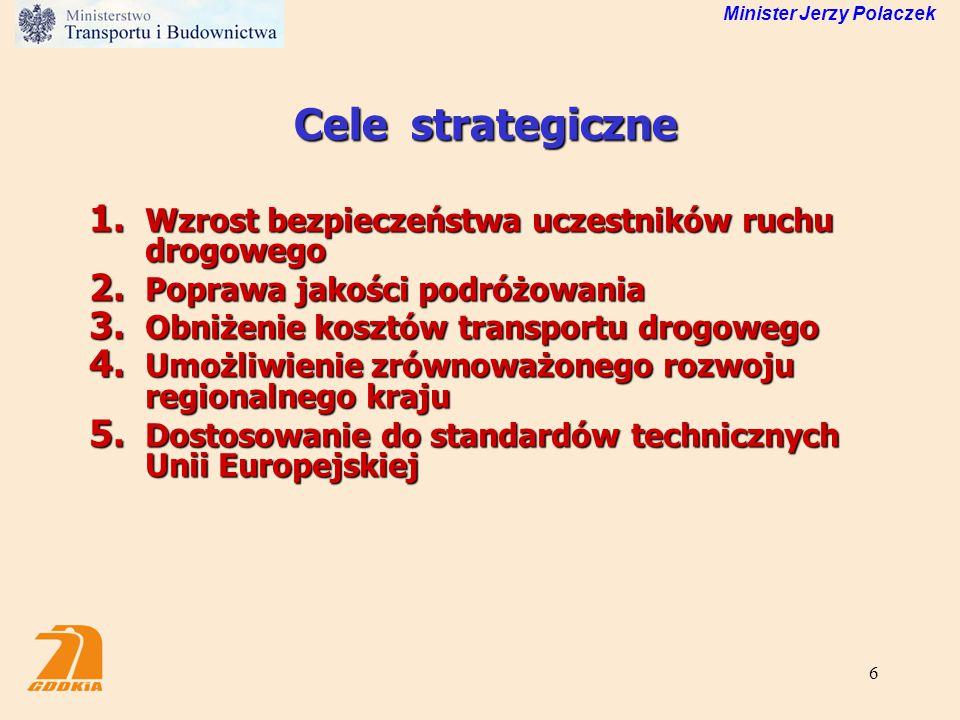Cele strategiczne Wzrost bezpieczeństwa uczestników ruchu drogowego
