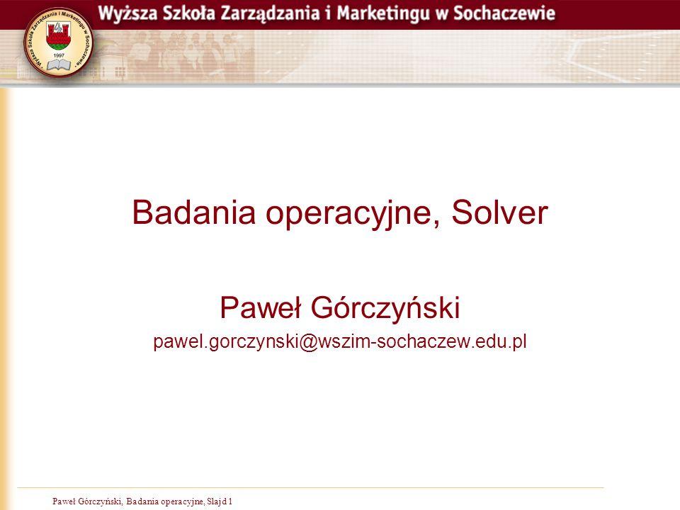 Badania operacyjne, Solver