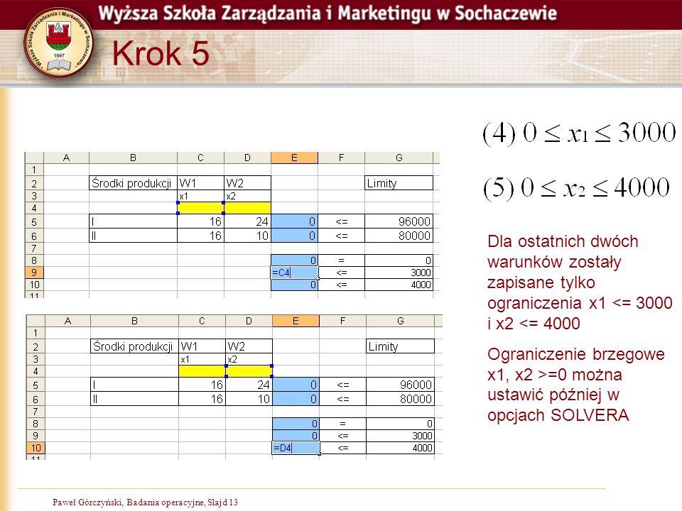 Krok 5 Dla ostatnich dwóch warunków zostały zapisane tylko ograniczenia x1 <= 3000 i x2 <= 4000.