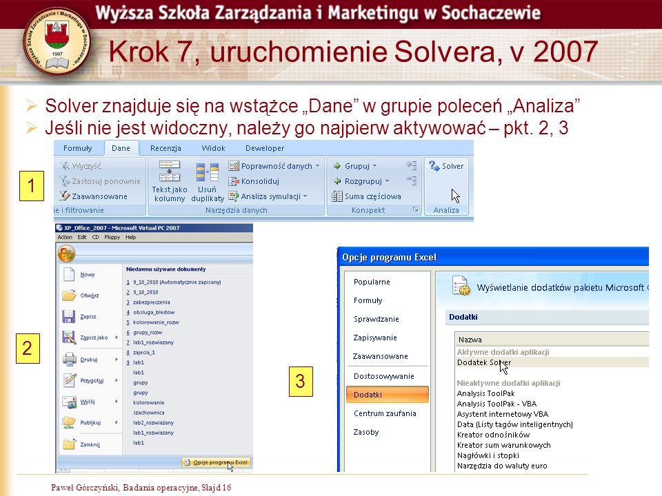 Krok 7, uruchomienie Solvera, v 2007