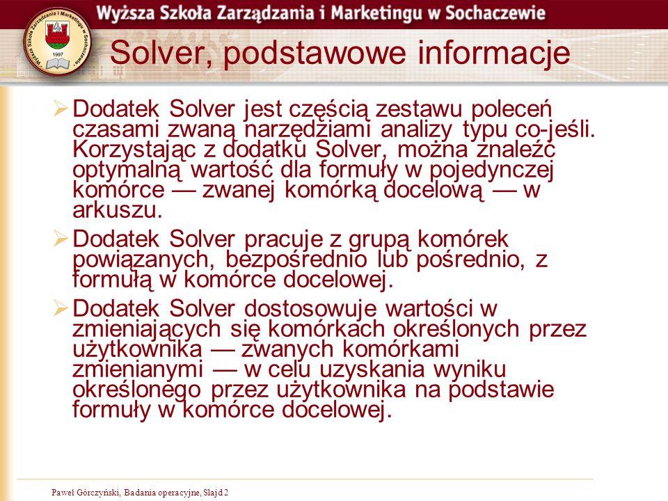 Solver, podstawowe informacje
