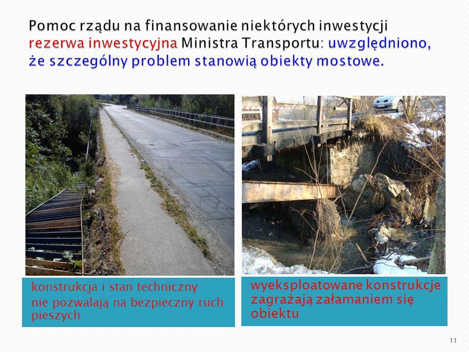 Pomoc rządu na finansowanie niektórych inwestycji rezerwa inwestycyjna Ministra Transportu: uwzględniono, że szczególny problem stanowią obiekty mostowe.