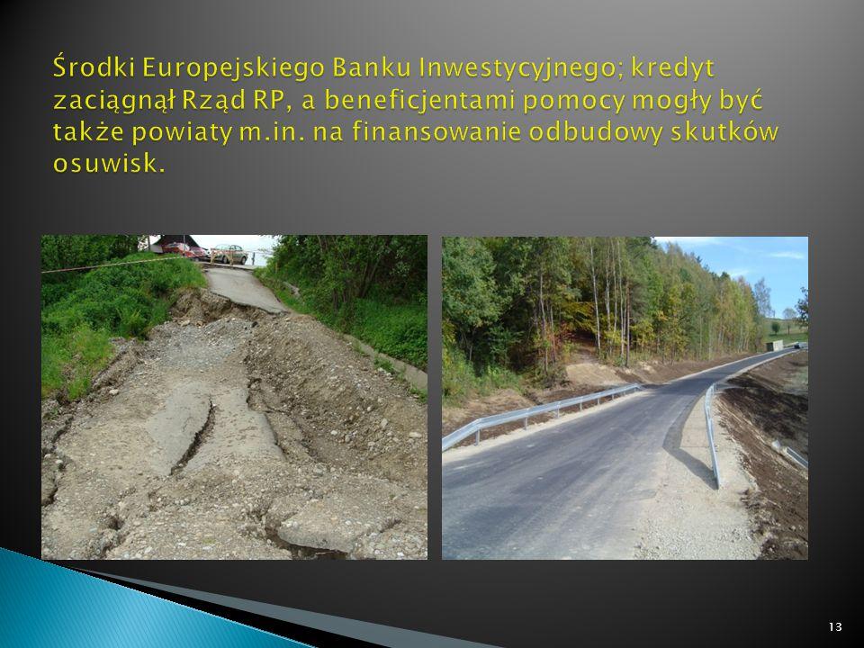 Środki Europejskiego Banku Inwestycyjnego; kredyt zaciągnął Rząd RP, a beneficjentami pomocy mogły być także powiaty m.in.