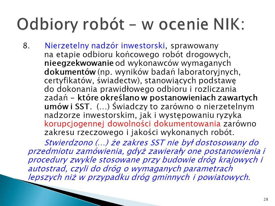 Odbiory robót – w ocenie NIK: