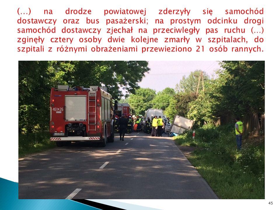 (…) na drodze powiatowej zderzyły się samochód dostawczy oraz bus pasażerski; na prostym odcinku drogi samochód dostawczy zjechał na przeciwległy pas ruchu (…) zginęły cztery osoby dwie kolejne zmarły w szpitalach, do szpitali z różnymi obrażeniami przewieziono 21 osób rannych.