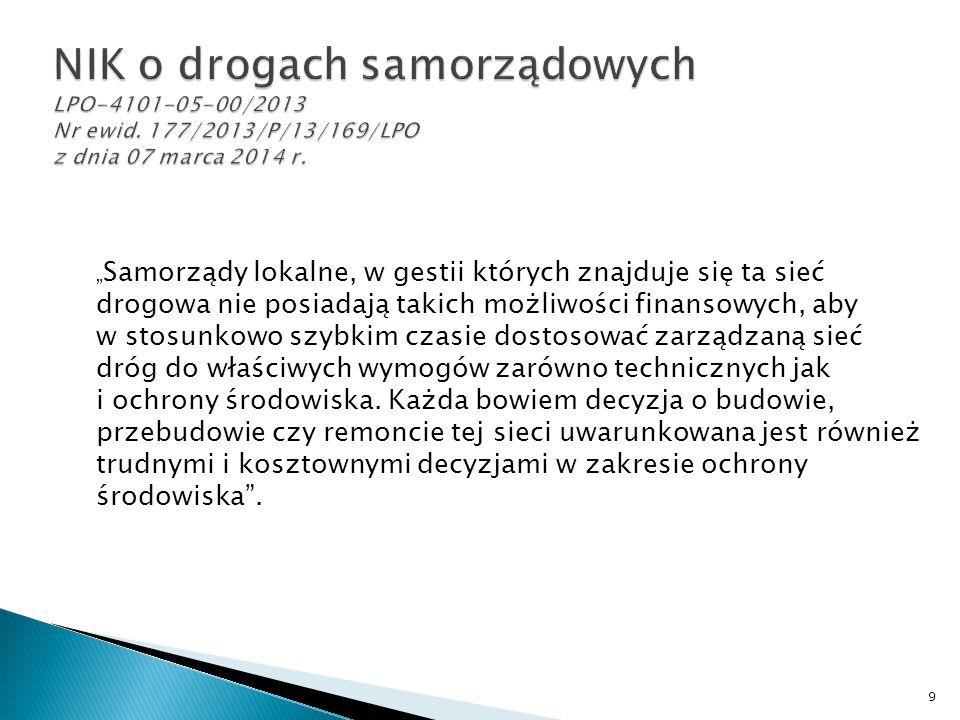NIK o drogach samorządowych LPO-4101-05-00/2013 Nr ewid