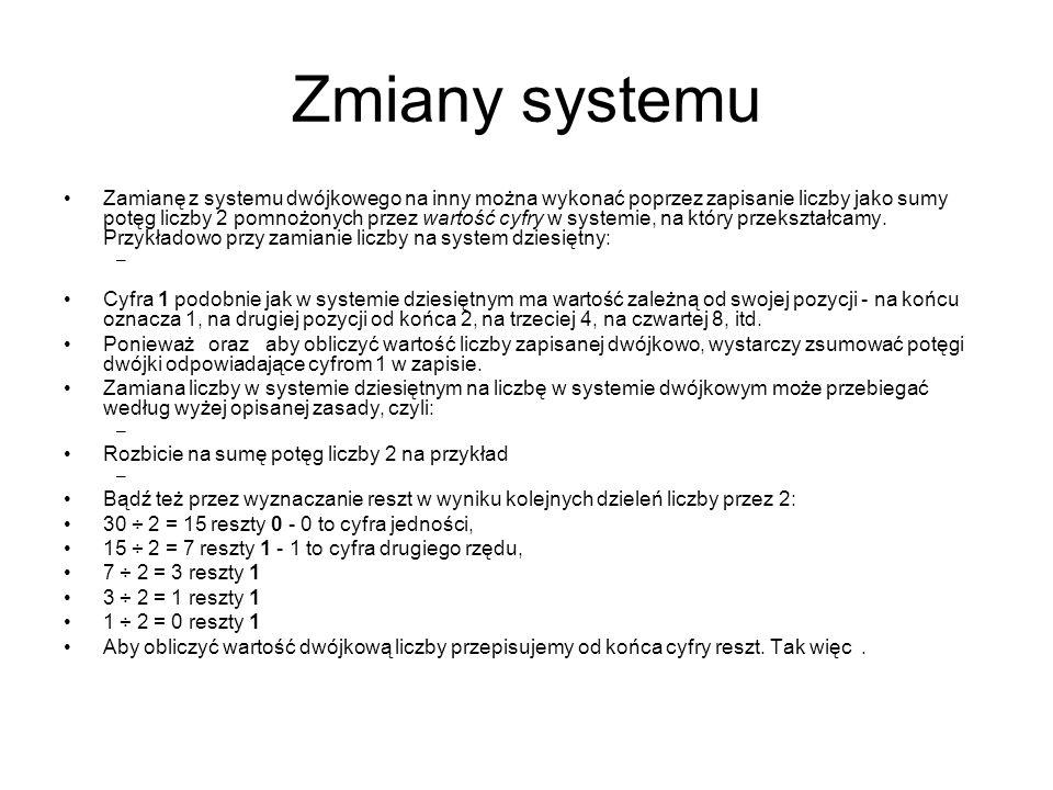 Zmiany systemu