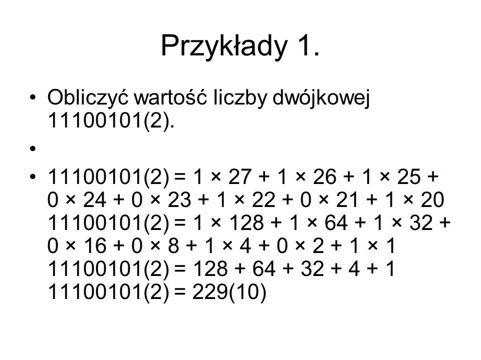 Przykłady 1. Obliczyć wartość liczby dwójkowej 11100101(2).