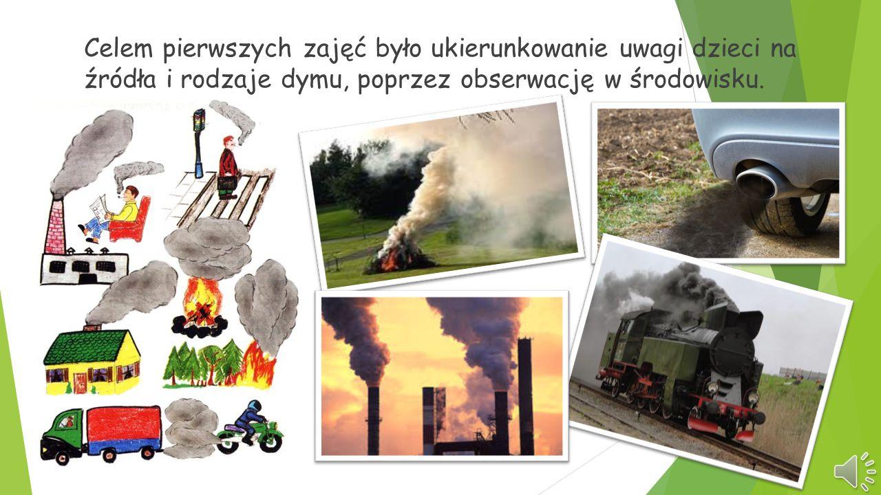 Celem pierwszych zajęć było ukierunkowanie uwagi dzieci na źródła i rodzaje dymu, poprzez obserwację w środowisku.