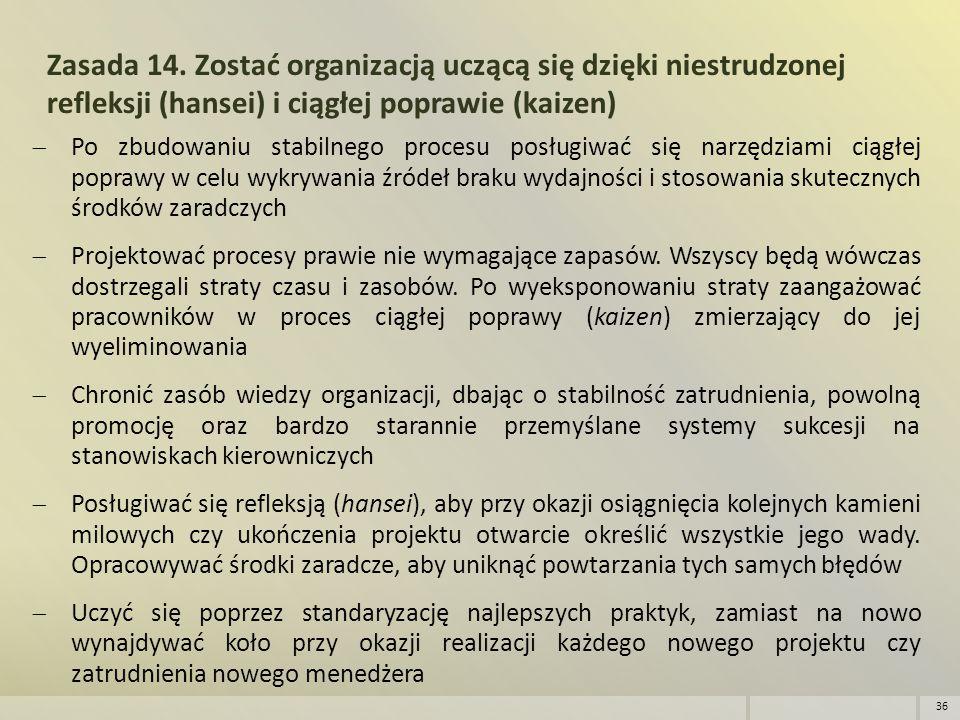 Zasada 14. Zostać organizacją uczącą się dzięki niestrudzonej refleksji (hansei) i ciągłej poprawie (kaizen)