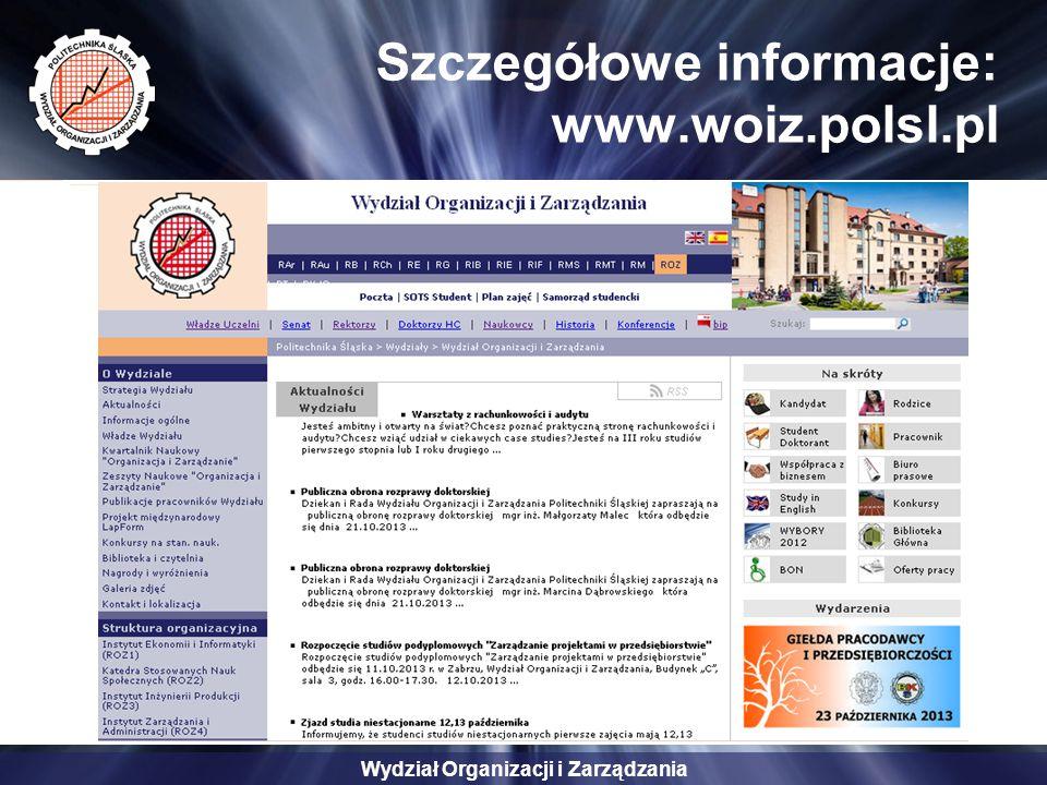 Szczegółowe informacje: www.woiz.polsl.pl