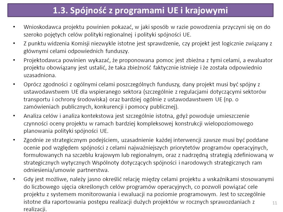 1.3. Spójność z programami UE i krajowymi