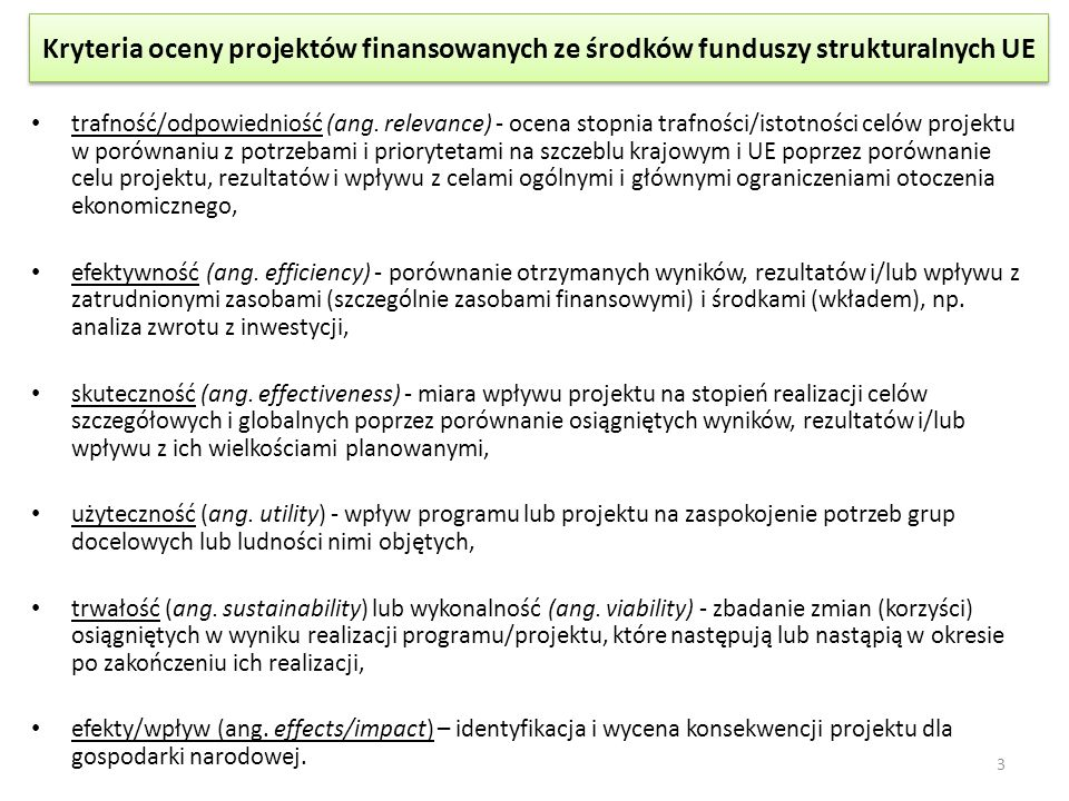 Kryteria oceny projektów finansowanych ze środków funduszy strukturalnych UE