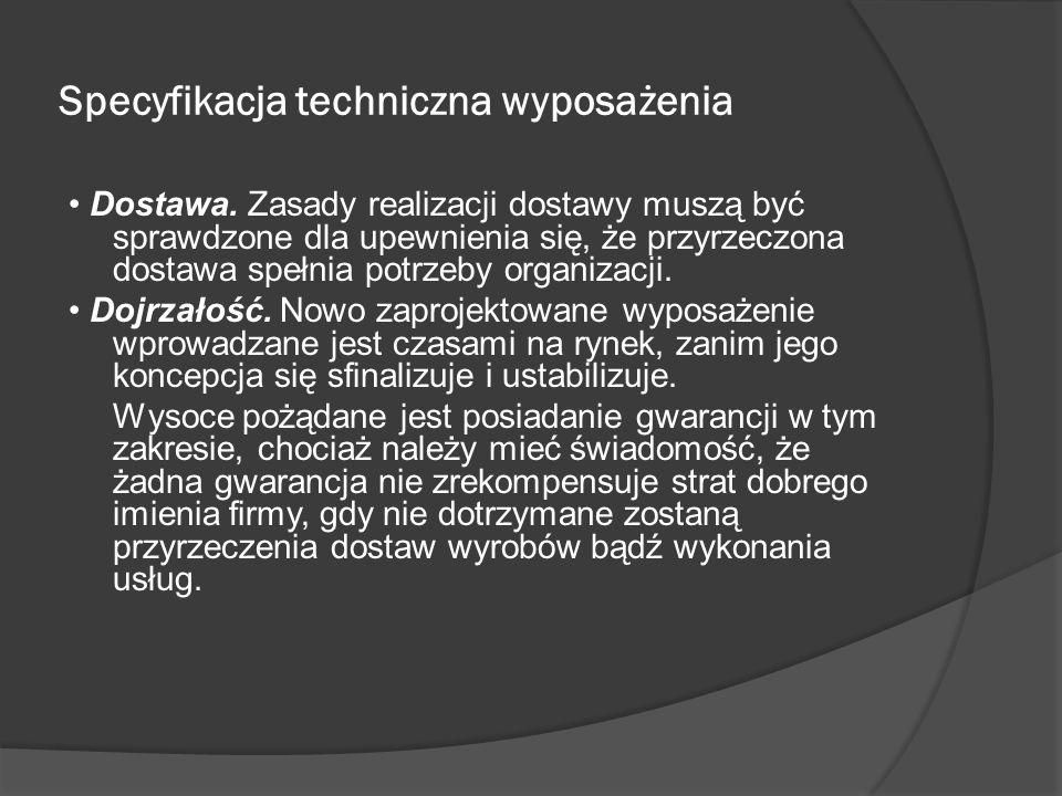 Specyfikacja techniczna wyposażenia