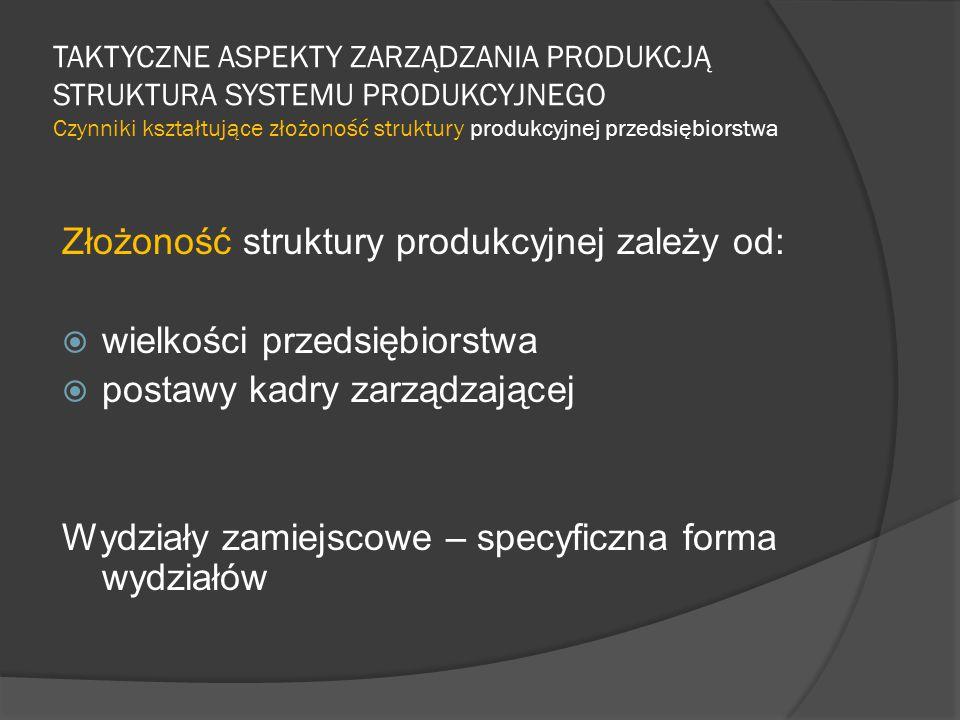 Złożoność struktury produkcyjnej zależy od: wielkości przedsiębiorstwa