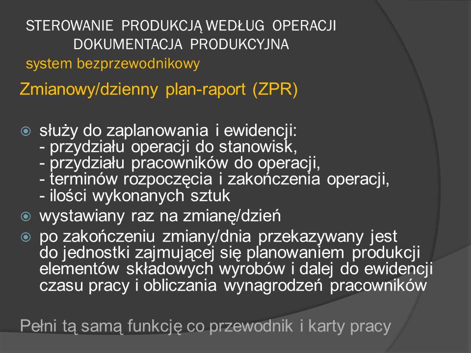 Zmianowy/dzienny plan-raport (ZPR)