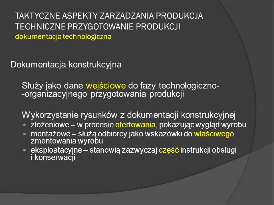 TAKTYCZNE ASPEKTY ZARZĄDZANIA PRODUKCJĄ TECHNICZNE PRZYGOTOWANIE PRODUKCJI dokumentacja technologiczna