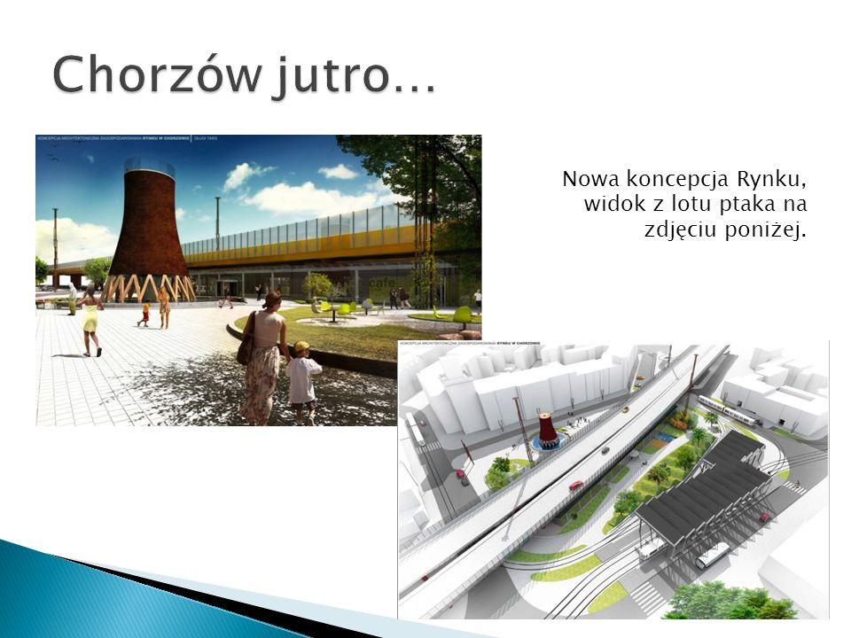 Chorzów jutro… Nowa koncepcja Rynku, widok z lotu ptaka na zdjęciu poniżej.