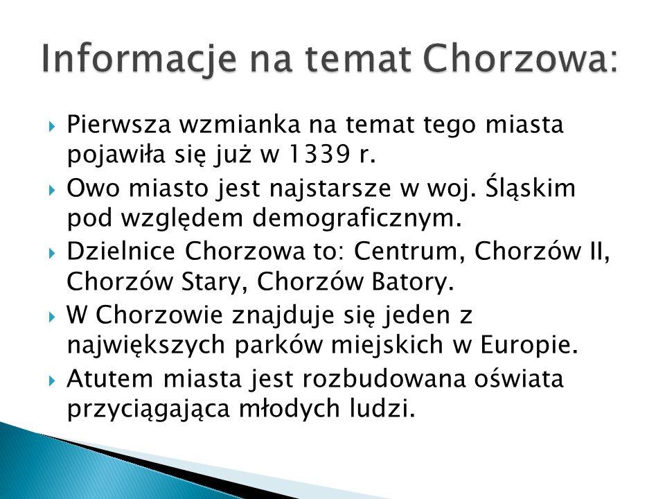 Informacje na temat Chorzowa: