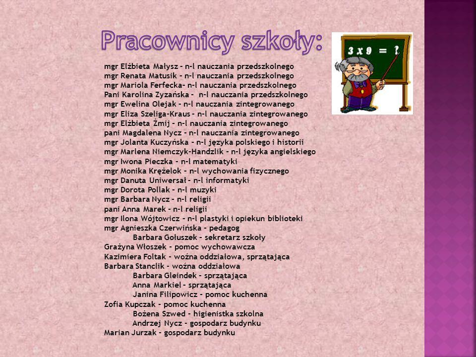 Pracownicy szkoły: mgr Elżbieta Małysz – n-l nauczania przedszkolnego