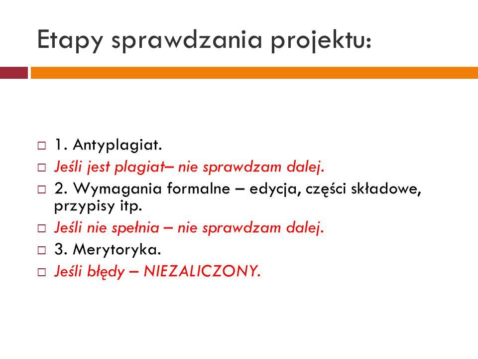 Etapy sprawdzania projektu: