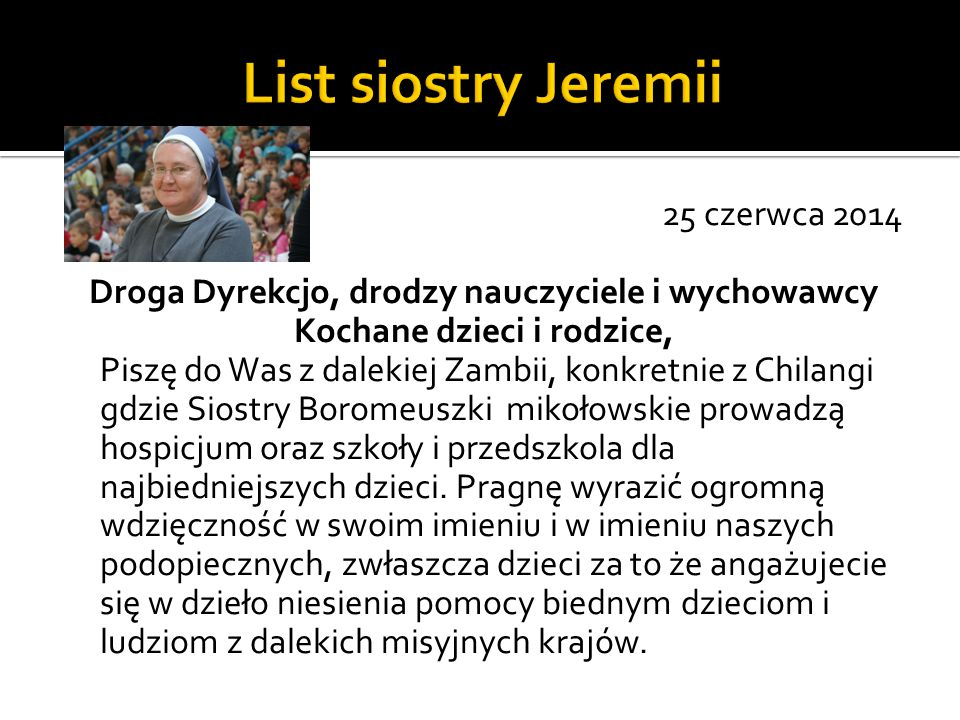 List siostry Jeremii