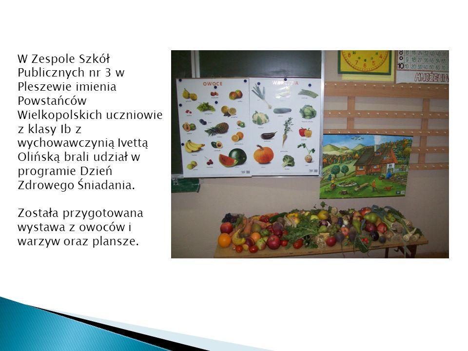 W Zespole Szkół Publicznych nr 3 w Pleszewie imienia Powstańców Wielkopolskich uczniowie z klasy Ib z wychowawczynią Ivettą Olińską brali udział w programie Dzień Zdrowego Śniadania.