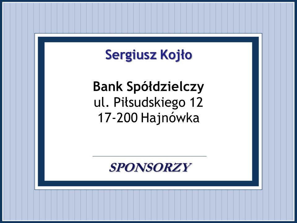 Sergiusz Kojło Bank Spółdzielczy ul. Piłsudskiego 12 17-200 Hajnówka