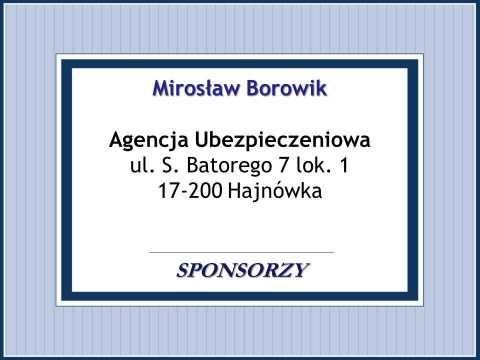 Mirosław Borowik Agencja Ubezpieczeniowa ul. S. Batorego 7 lok